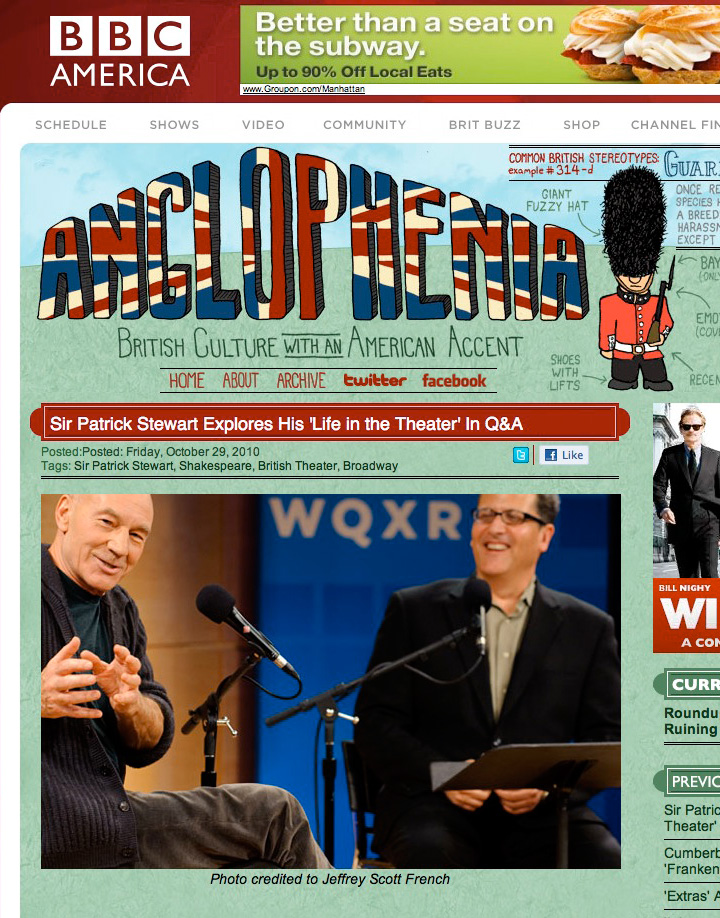 BBC America covers Patrick Stewart at WNYC GreeneSpace Event