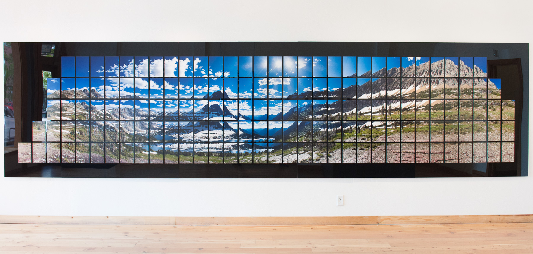 An image of Hidden Lake installed at the Rocky Mountain School of Photography Gallery in Missoula, MT