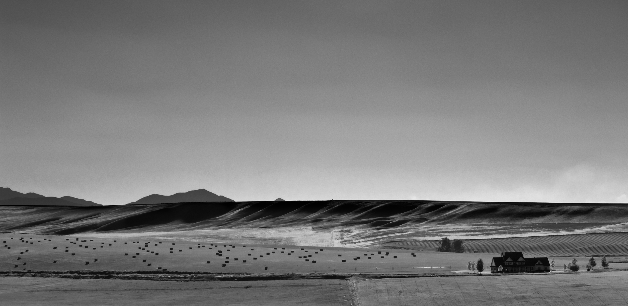 A black and white image of fields and buttes with mountains behind by Jeffrey Scott French